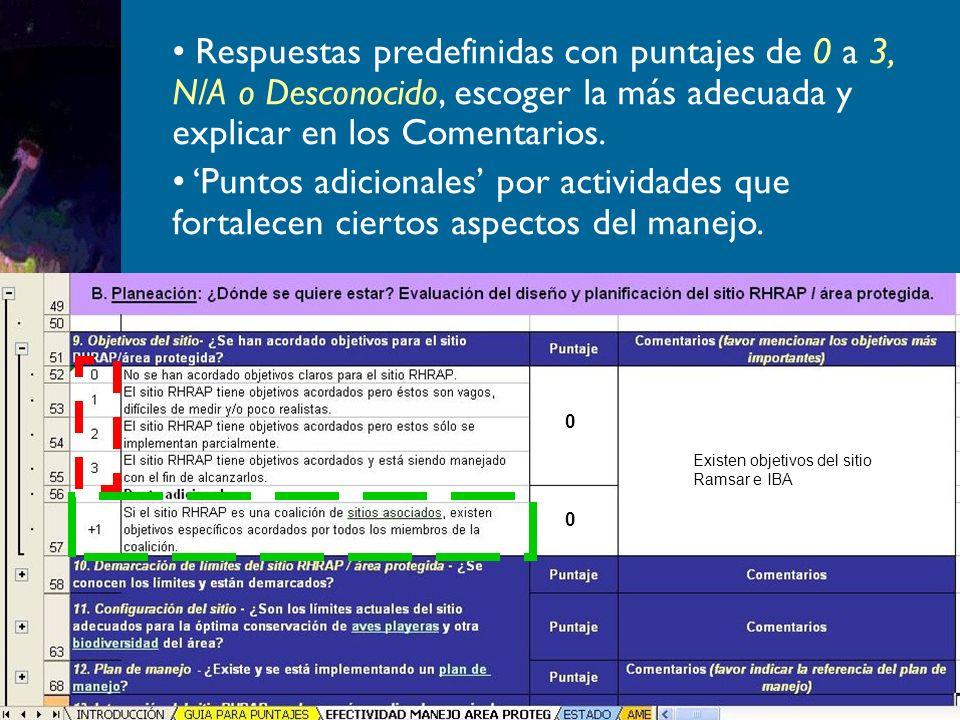 Respuestas predefinidas con puntajes de 0 a 3, N/A o Desconocido, escoger la más adecuada y explicar en los Comentarios.