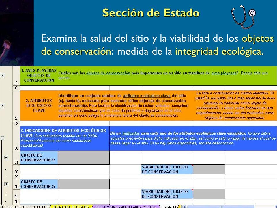 Sección de Estado objetos de conservaciónintegridad ecológica.