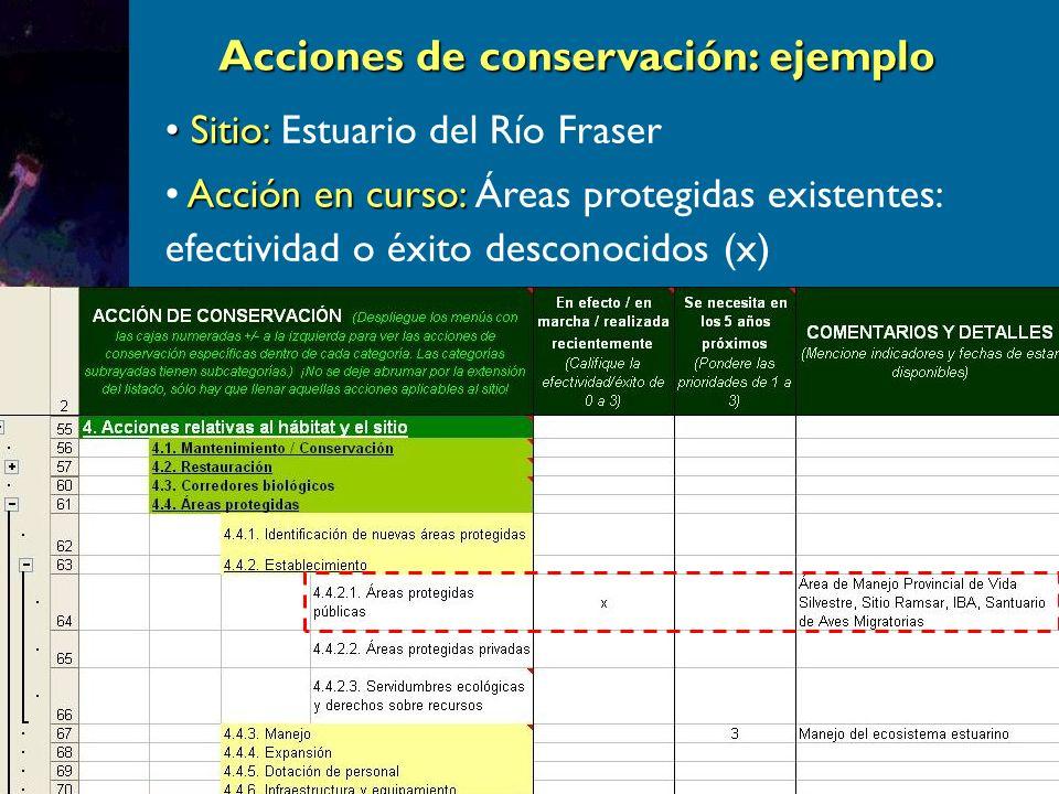 Acciones de conservación: ejemplo Sitio: Sitio: Estuario del Río Fraser Acción en curso: Acción en curso: Áreas protegidas existentes: efectividad o éxito desconocidos (x)
