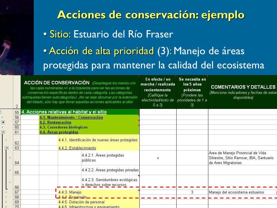 Sitio: Sitio: Estuario del Río Fraser Acción de alta prioridad : Acción de alta prioridad (3): Manejo de áreas protegidas para mantener la calidad del ecosistema Acciones de conservación: ejemplo