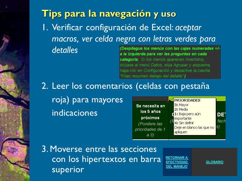 Tips para la navegación y uso 1.Verificar configuración de Excel: aceptar macros, ver celda negra con letras verdes para detalles 2.Leer los comentarios (celdas con pestaña roja) para mayores indicaciones 3.