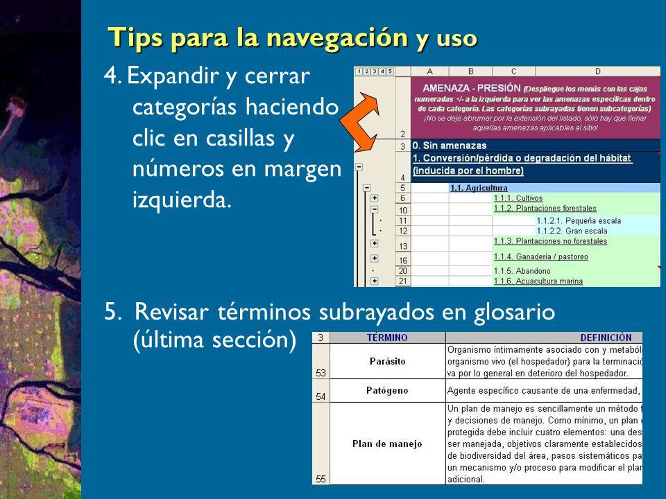 Tips para la navegación y uso Tips para la navegación y uso 4.