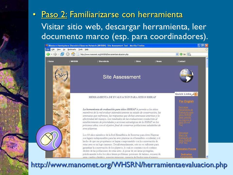 Paso 2: Familiarizarse con herramientaPaso 2: Familiarizarse con herramienta Visitar sitio web, descargar herramienta, leer documento marco (esp.