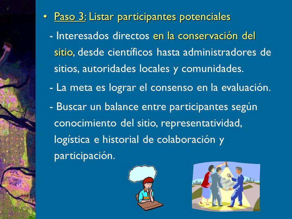 Paso 3: Listar participantes potencialesPaso 3: Listar participantes potenciales en la conservación del sitio - Interesados directos en la conservación del sitio, desde científicos hasta administradores de sitios, autoridades locales y comunidades.