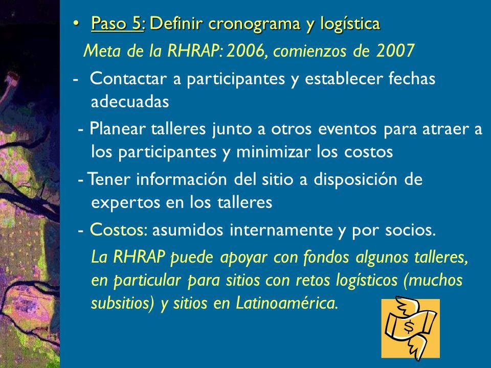 Paso 5: Definir cronograma y logísticaPaso 5: Definir cronograma y logística Meta de la RHRAP: 2006, comienzos de 2007 - Contactar a participantes y establecer fechas adecuadas - Planear talleres junto a otros eventos para atraer a los participantes y minimizar los costos - Tener información del sitio a disposición de expertos en los talleres - Costos: asumidos internamente y por socios.