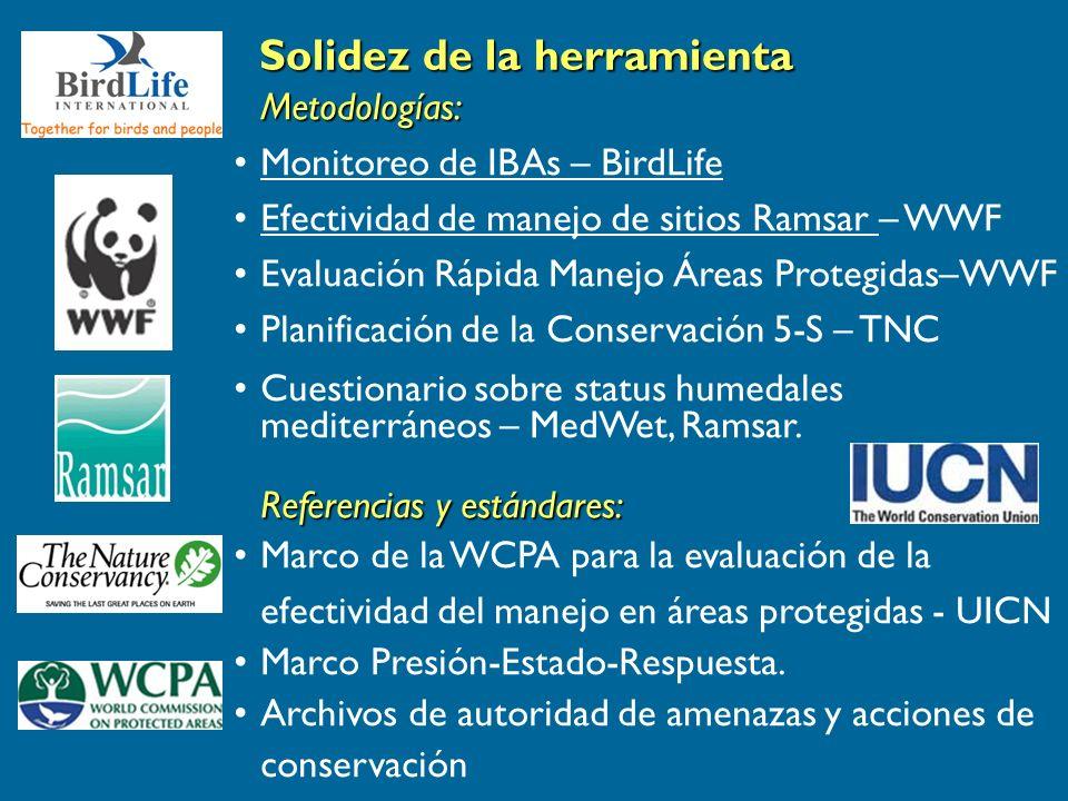 Metodologías: Monitoreo de IBAs – BirdLife Efectividad de manejo de sitios Ramsar – WWF Evaluación Rápida Manejo Áreas Protegidas–WWF Planificación de la Conservación 5-S – TNC Cuestionario sobre status humedales mediterráneos – MedWet, Ramsar.