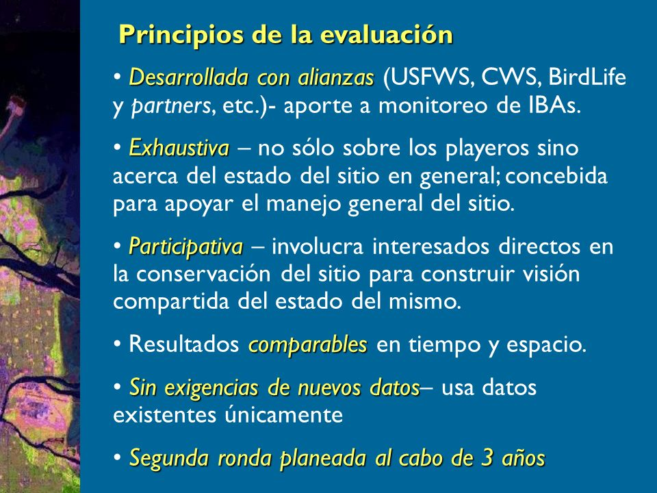 Principios de la evaluación Desarrollada con alianzas Desarrollada con alianzas (USFWS, CWS, BirdLife y partners, etc.)- aporte a monitoreo de IBAs.