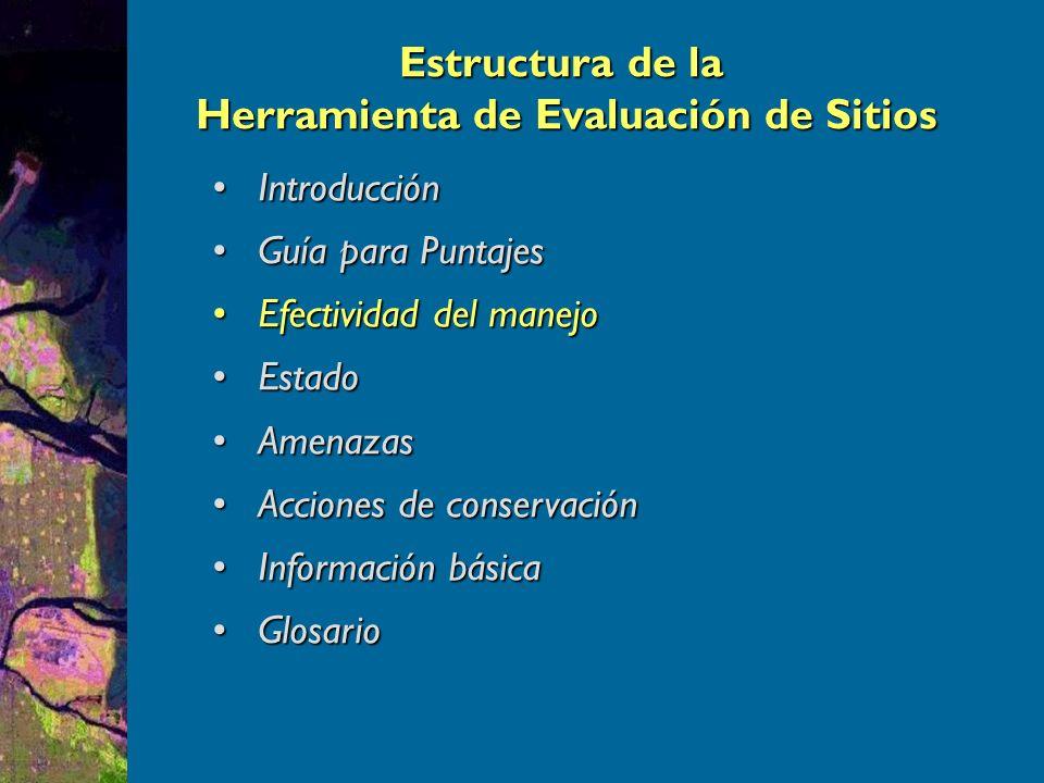 Nivel básico de evaluación de sitios: 37 preguntas sobre el ciclo de manejo de las áreas protegidas.