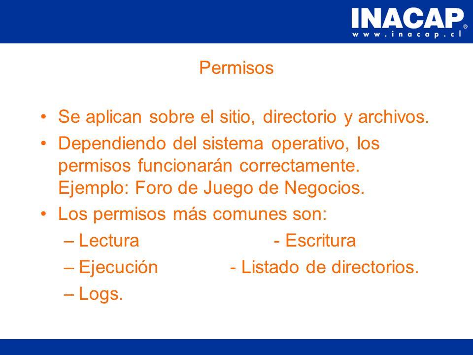 Características de un directorio virtual No tiene Ip asociada.