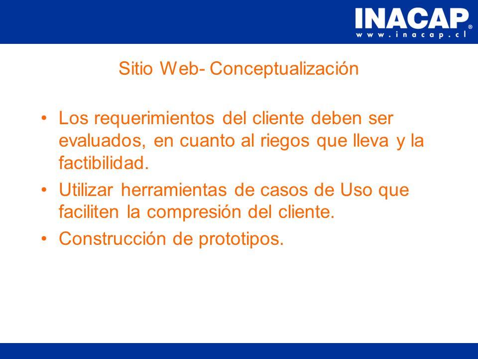 Sitio Web- Conceptualización Antes de realizar cualquier desarrollo es sumamente importante conceptualizar el sitio y definir las expectativas del cliente.