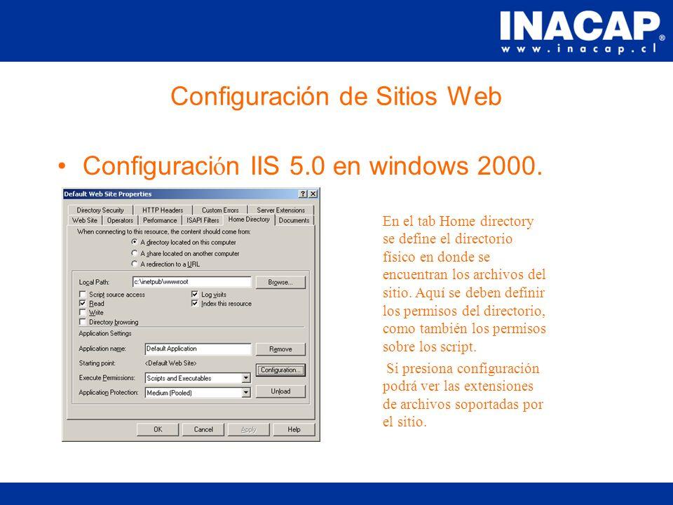 Configuración de Sitios Web Configuraci ó n IIS 5.0 en windows 2000.
