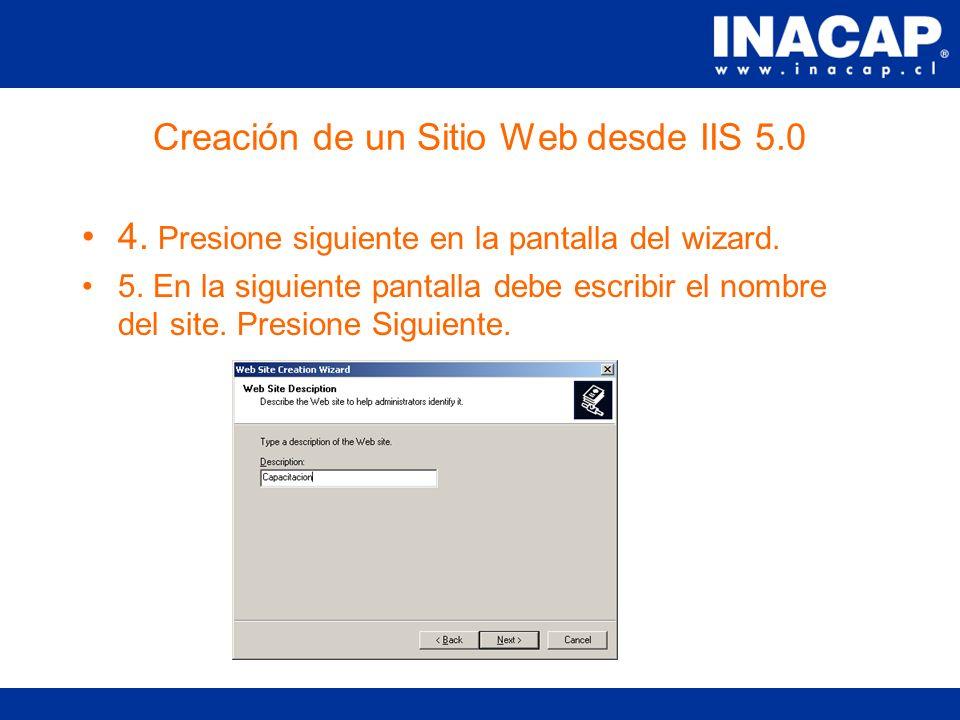 Creación de un Sitio Web desde IIS 5.0 1.