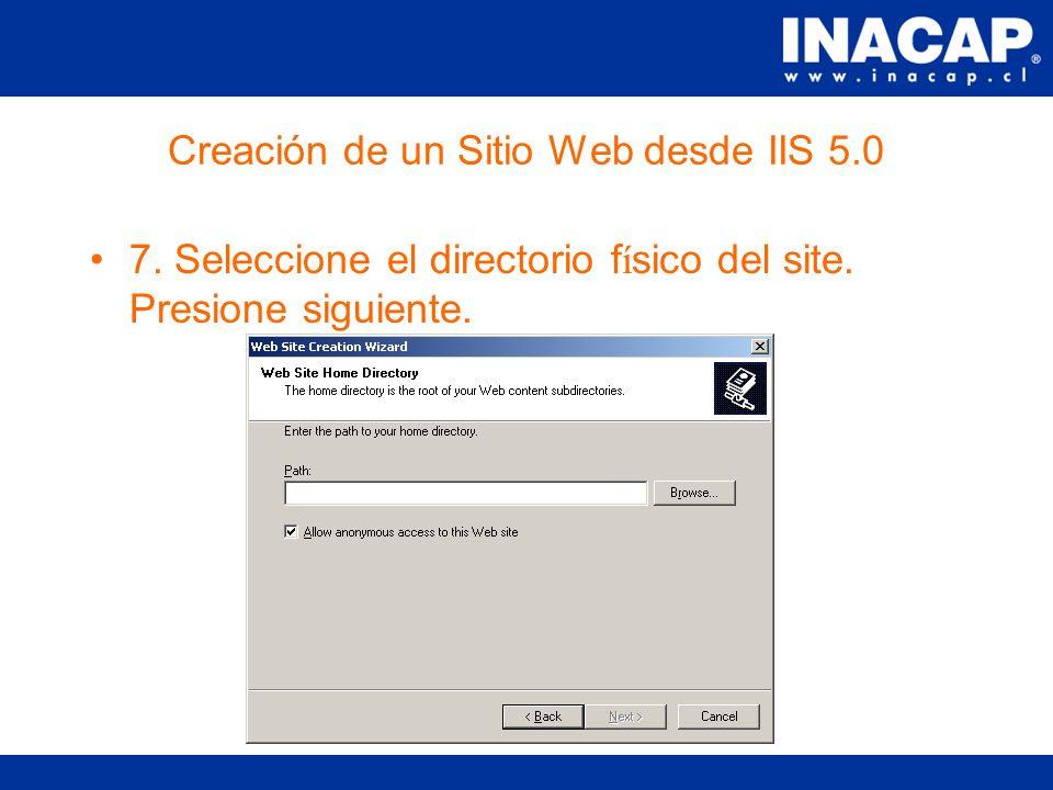 Creación de un Sitio Web desde IIS 5.0 6.