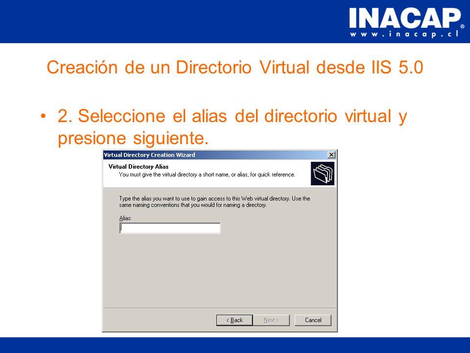 Creación de un Directorio Virtual desde IIS 5.0 1.