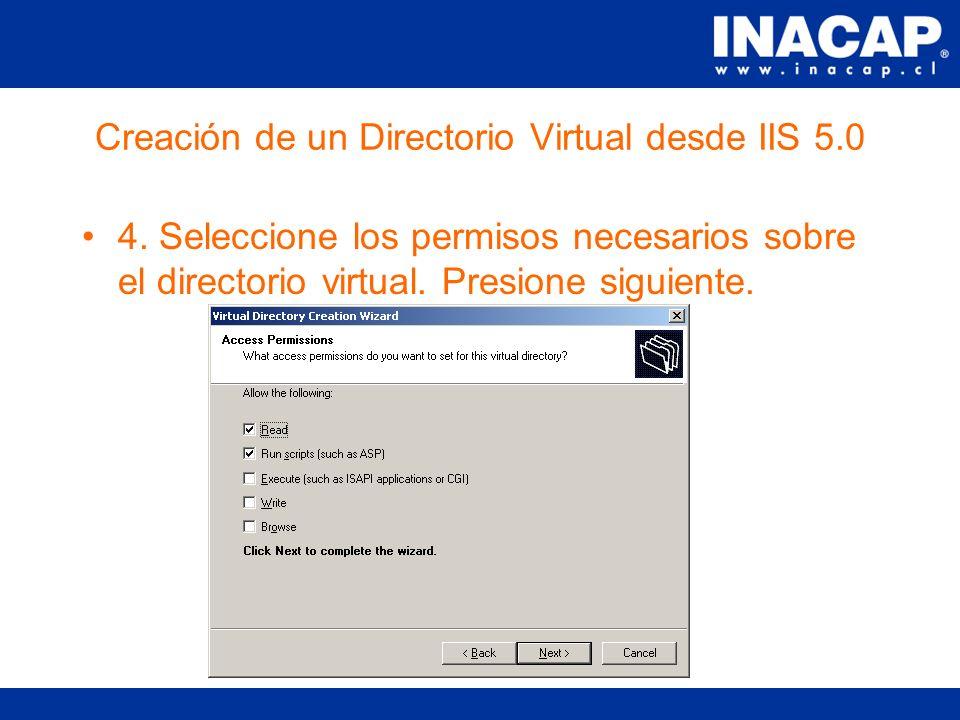 Creación de un Directorio Virtual desde IIS 5.0 3.