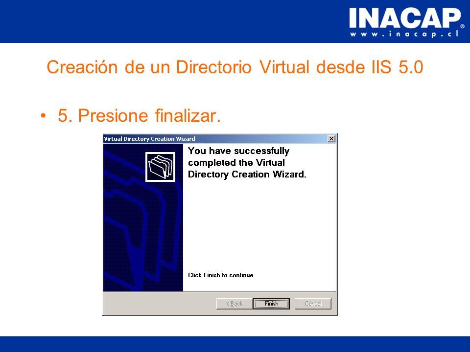 Creación de un Directorio Virtual desde IIS 5.0 4.