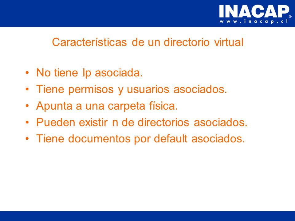 Definición de un directorio virtual Un directorio web representa una carpeta virtual que reside dentro de un servidor web.