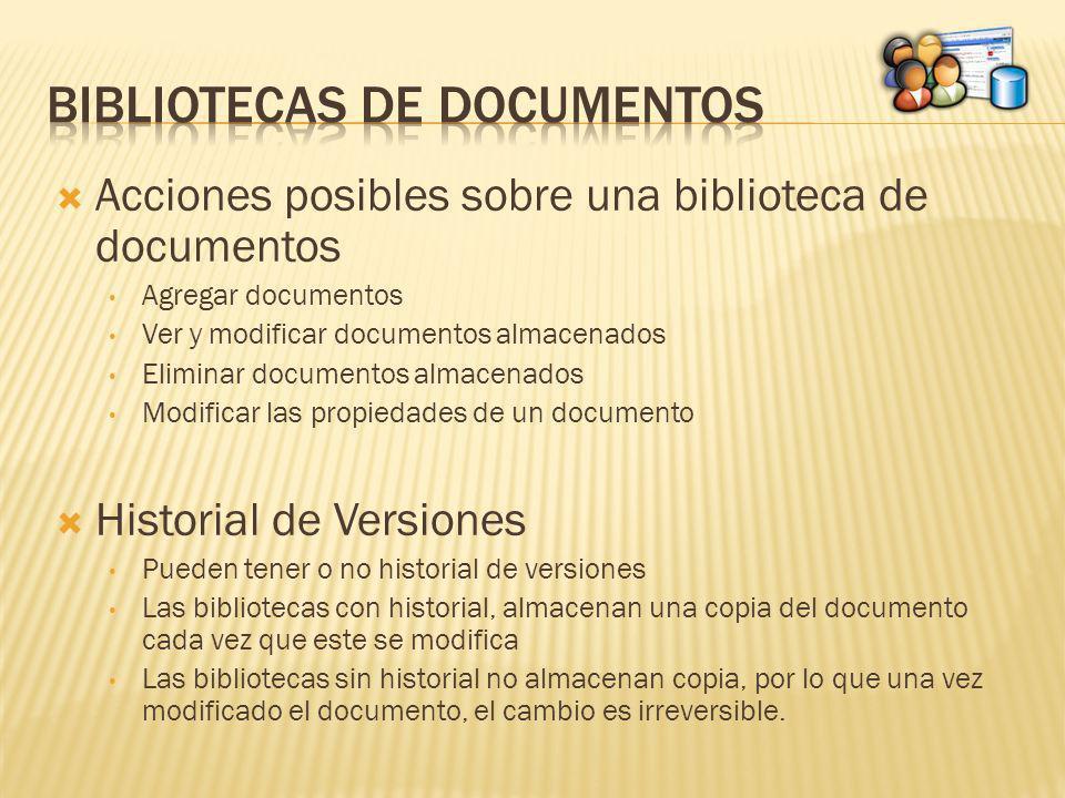 Acciones posibles sobre una biblioteca de documentos Agregar documentos Ver y modificar documentos almacenados Eliminar documentos almacenados Modific