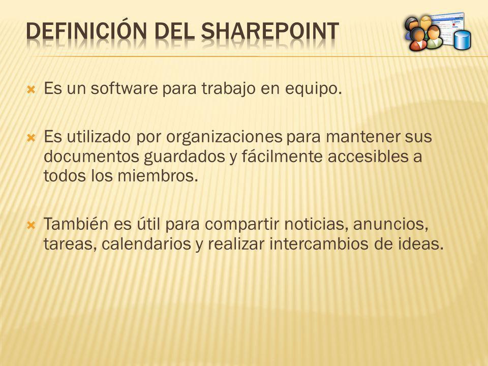Es un software para trabajo en equipo. Es utilizado por organizaciones para mantener sus documentos guardados y fácilmente accesibles a todos los miem