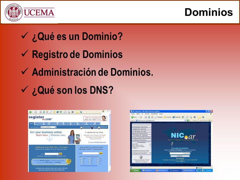 Dominios ¿Qué es un Dominio Registro de Dominios Administración de Dominios. ¿Qué son los DNS