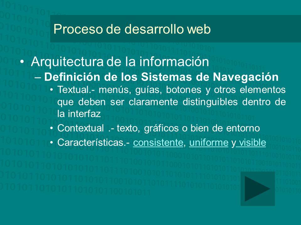 Proceso de desarrollo web Arquitectura de la información –Definición de los Sistemas de Navegación Textual.- menús, guías, botones y otros elementos q