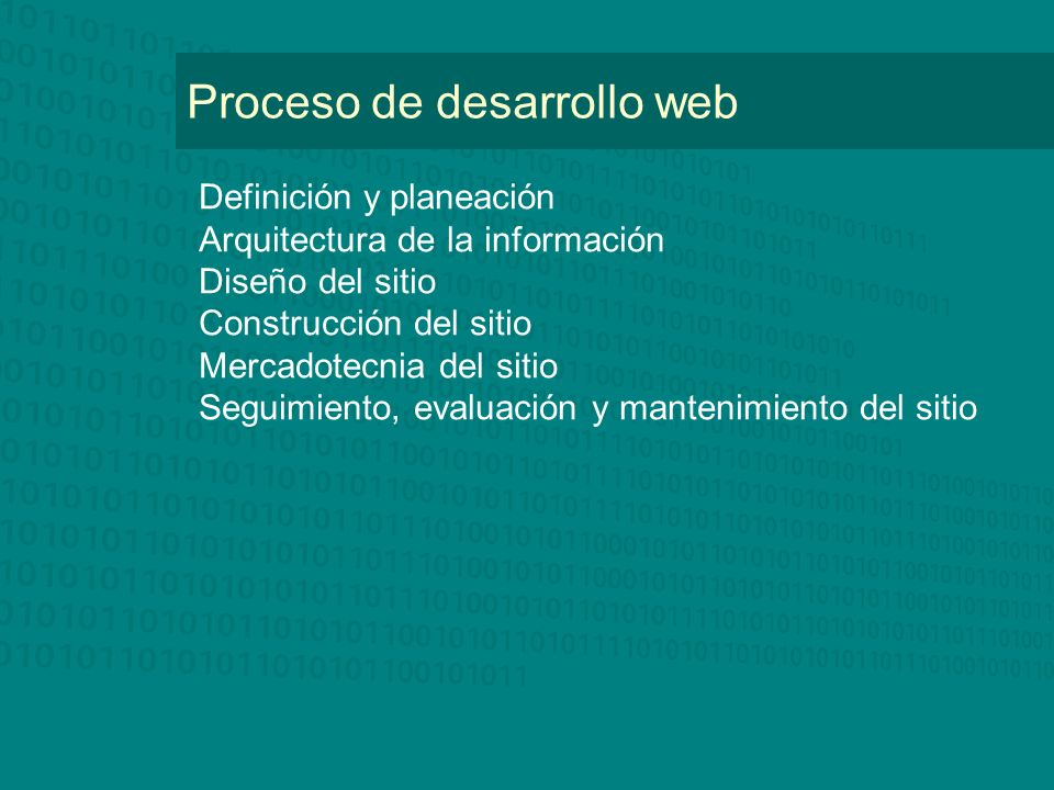 Proceso de desarrollo web Definición y planeación Arquitectura de la información Diseño del sitio Construcción del sitio Mercadotecnia del sitio Segui