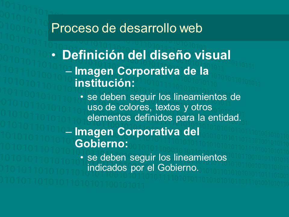 Proceso de desarrollo web Definición del diseño visual –Imagen Corporativa de la institución: se deben seguir los lineamientos de uso de colores, textos y otros elementos definidos para la entidad.