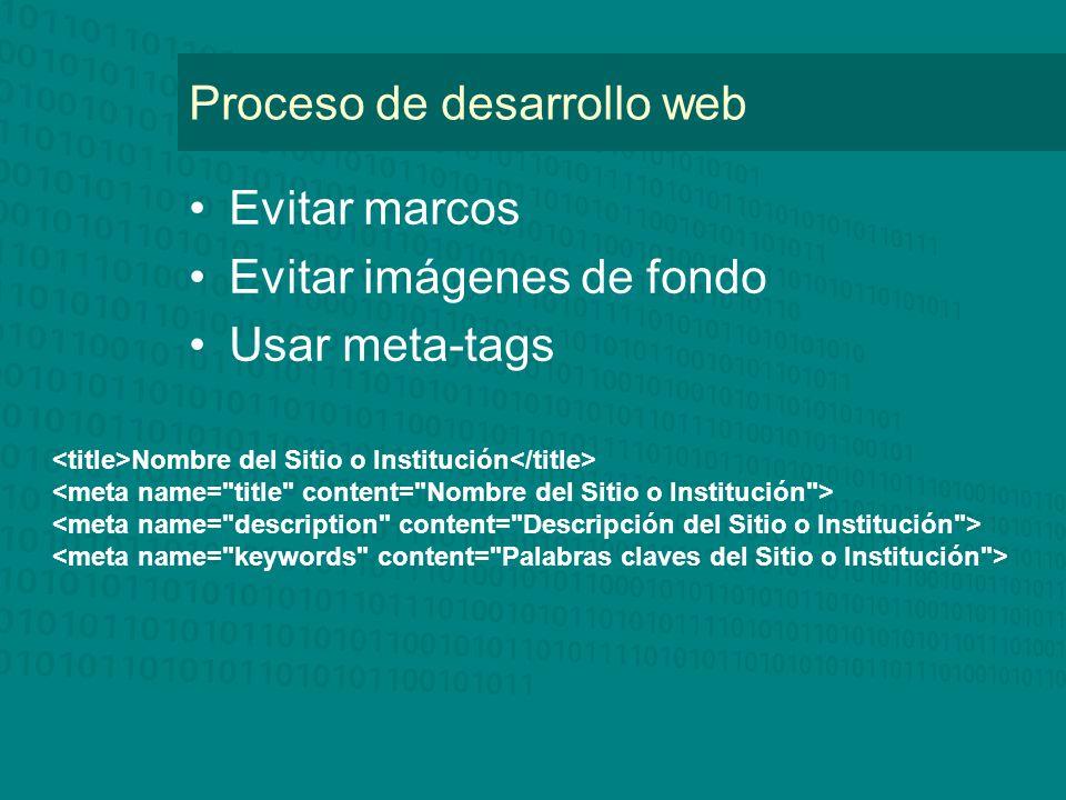 Proceso de desarrollo web Evitar marcos Evitar imágenes de fondo Usar meta-tags Nombre del Sitio o Institución