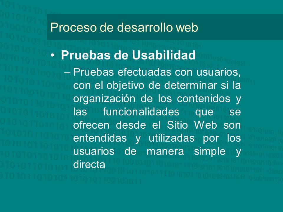 Proceso de desarrollo web Pruebas de Usabilidad –Pruebas efectuadas con usuarios, con el objetivo de determinar si la organización de los contenidos y