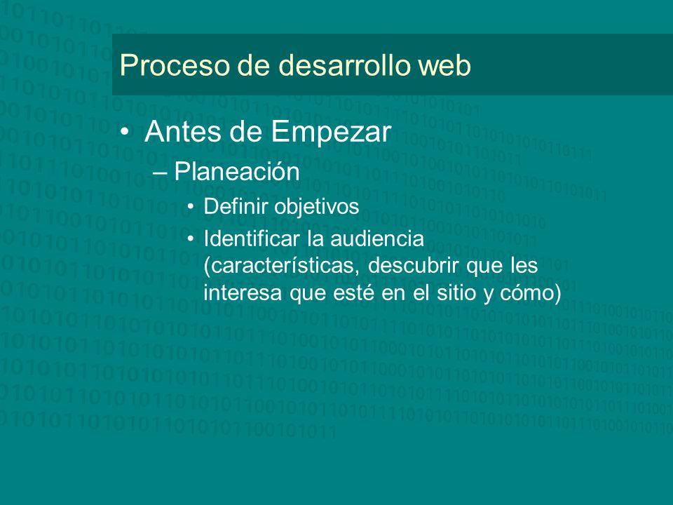 Proceso de desarrollo web Antes de Empezar –Planeación Definir objetivos Identificar la audiencia (características, descubrir que les interesa que esté en el sitio y cómo)