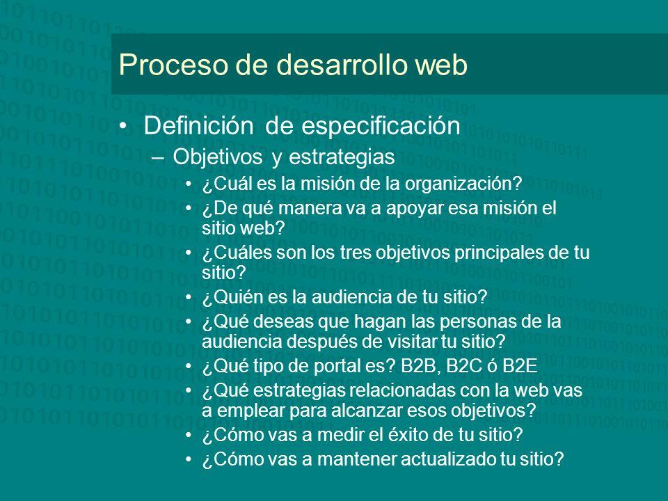 Proceso de desarrollo web Definición de especificación –Objetivos y estrategias ¿Cuál es la misión de la organización? ¿De qué manera va a apoyar esa