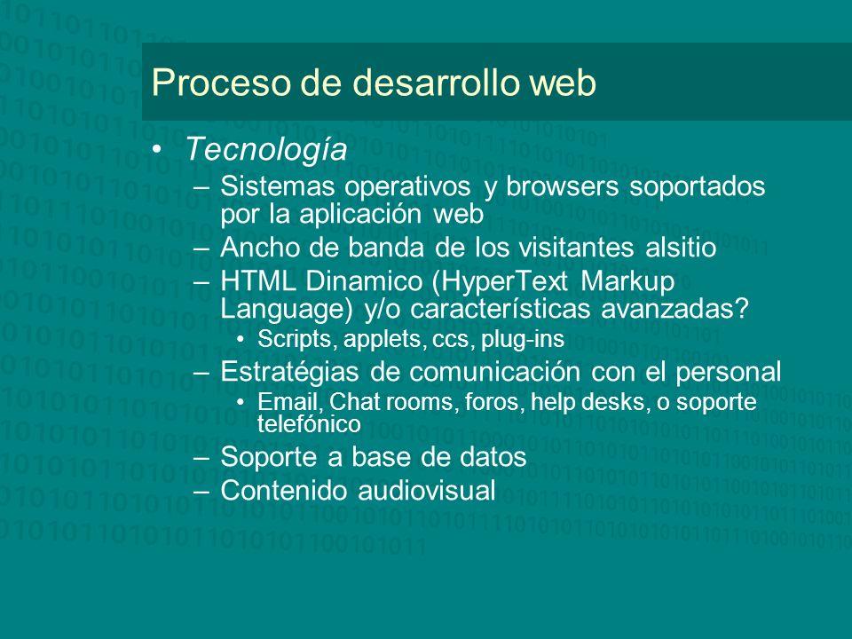 Proceso de desarrollo web Tecnología –Sistemas operativos y browsers soportados por la aplicación web –Ancho de banda de los visitantes alsitio –HTML
