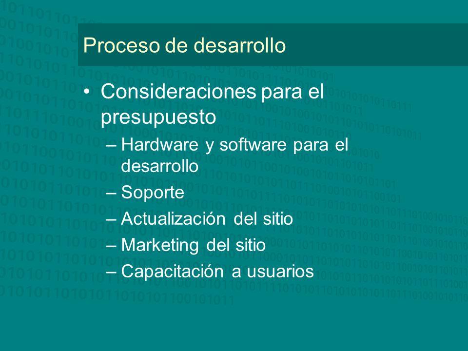 Proceso de desarrollo Consideraciones para el presupuesto –Hardware y software para el desarrollo –Soporte –Actualización del sitio –Marketing del sit