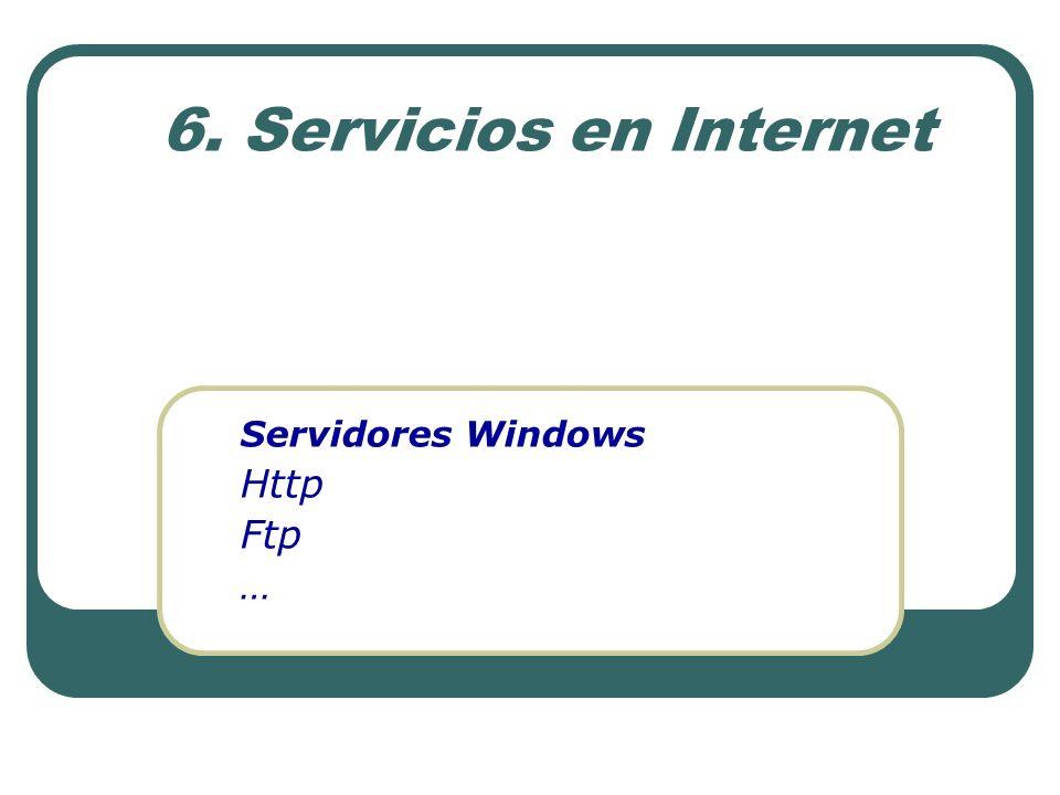 6.1 Windows 2000 Pro – Server Windows 2000 Profesional Servidor http y ftp integrado http y ftp limitado a un sitio Optimo y estable como estacion de trabajo.