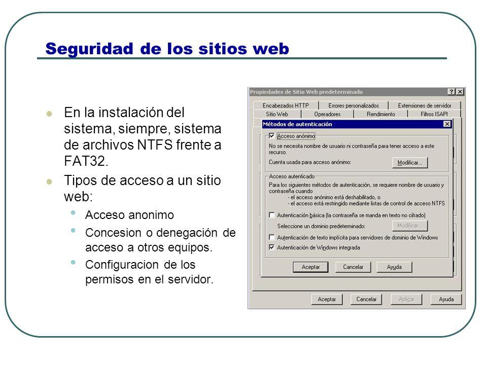 Seguridad de los sitios web En la instalación del sistema, siempre, sistema de archivos NTFS frente a FAT32.