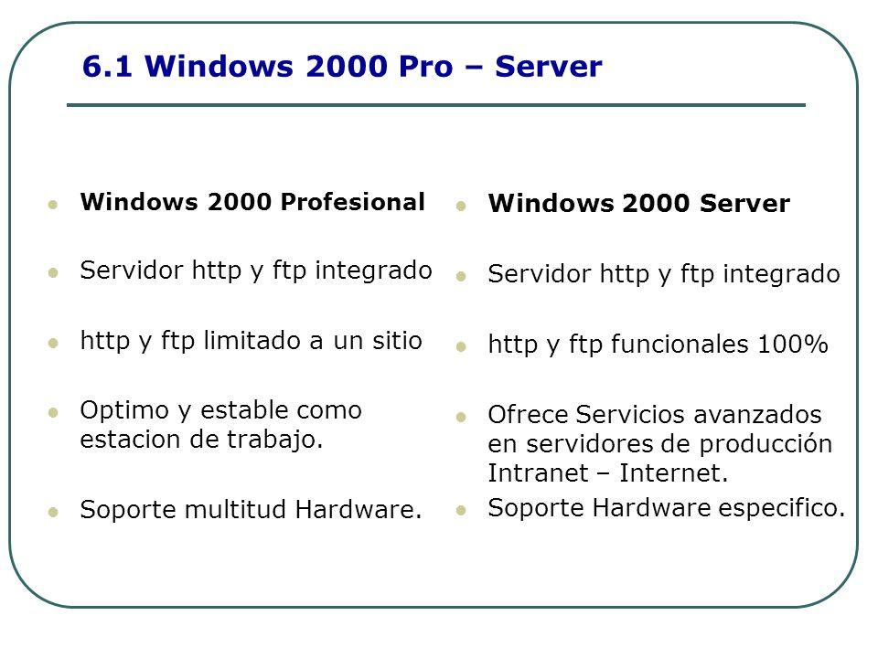 6.1 Windows 2000 Pro – Server Windows 2000 Profesional Servidor http y ftp integrado http y ftp limitado a un sitio Optimo y estable como estacion de