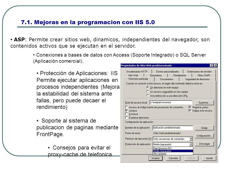 7.2 Administracion de sitios Web.Utilizamos MMC cargando la consola iis.