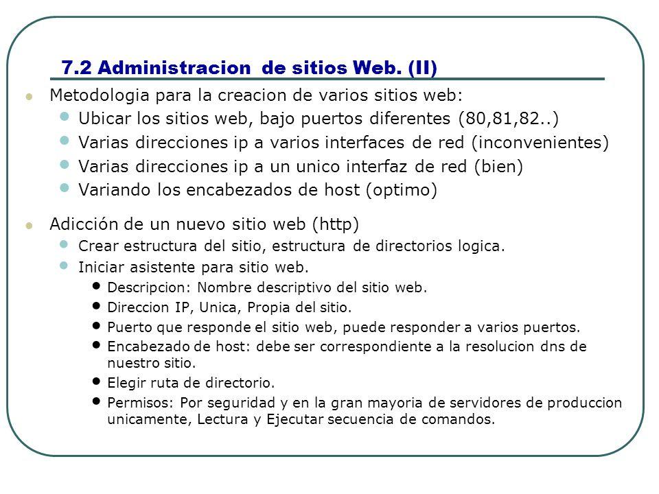 7.2 Administracion de sitios Web.