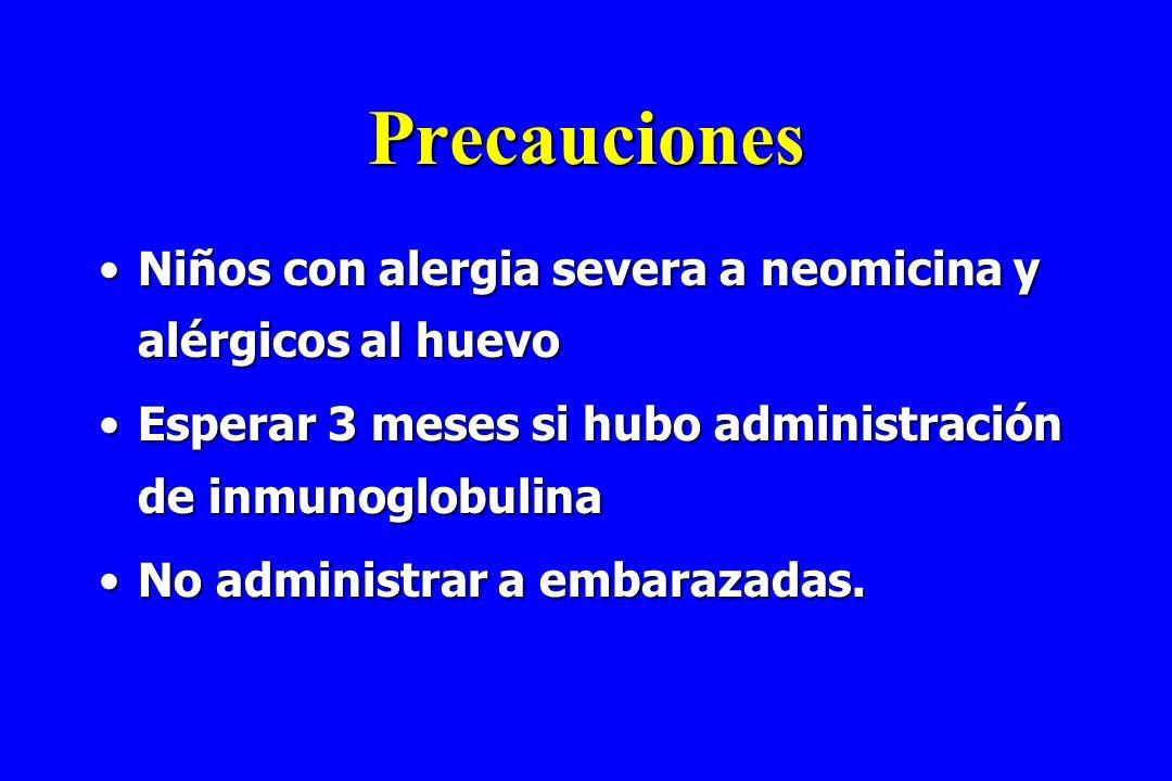 Precauciones Niños con alergia severa a neomicina y alérgicos al huevoNiños con alergia severa a neomicina y alérgicos al huevo Esperar 3 meses si hub