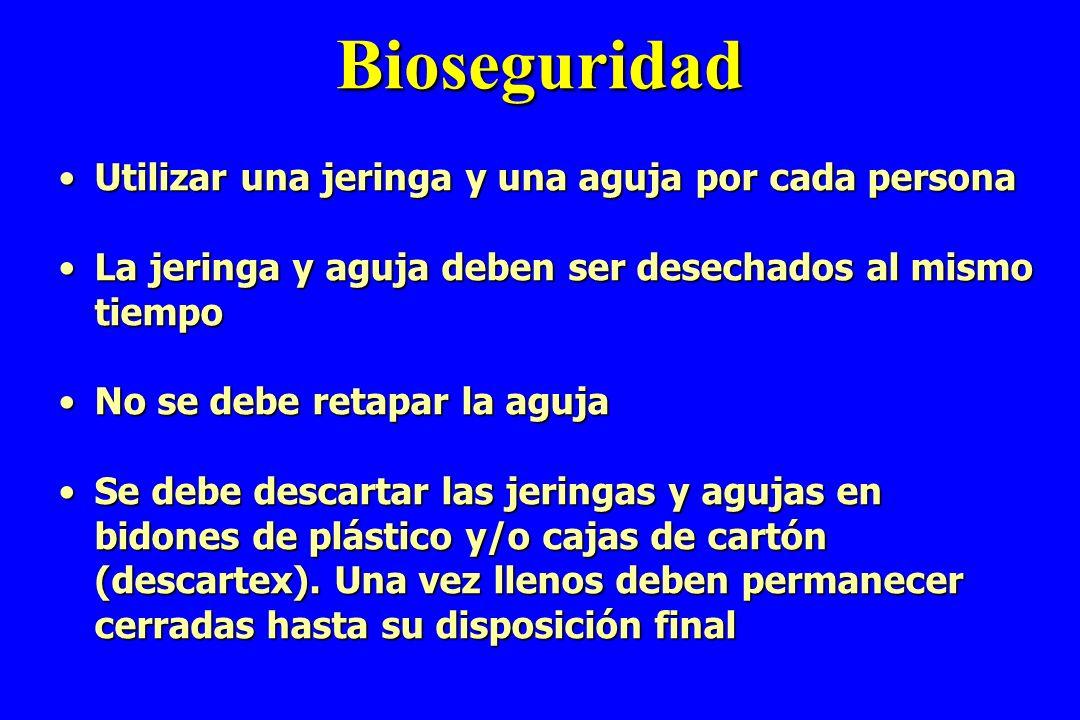 Bioseguridad Utilizar una jeringa y una aguja por cada personaUtilizar una jeringa y una aguja por cada persona La jeringa y aguja deben ser desechado