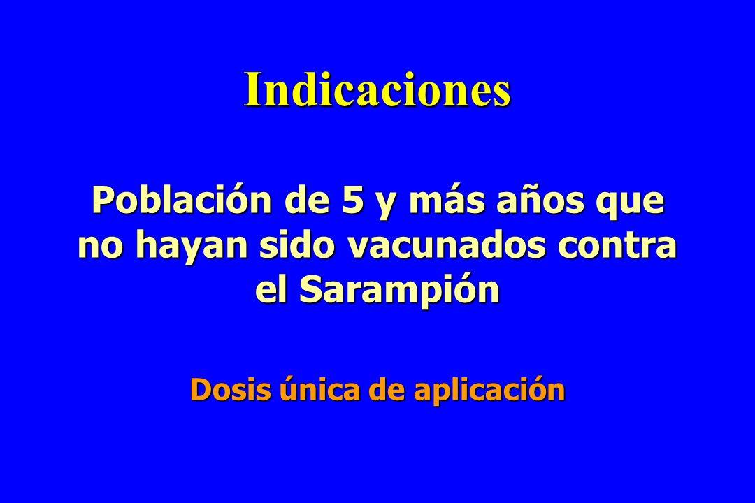 Indicaciones Población de 5 y más años que no hayan sido vacunados contra el Sarampión Dosis única de aplicación
