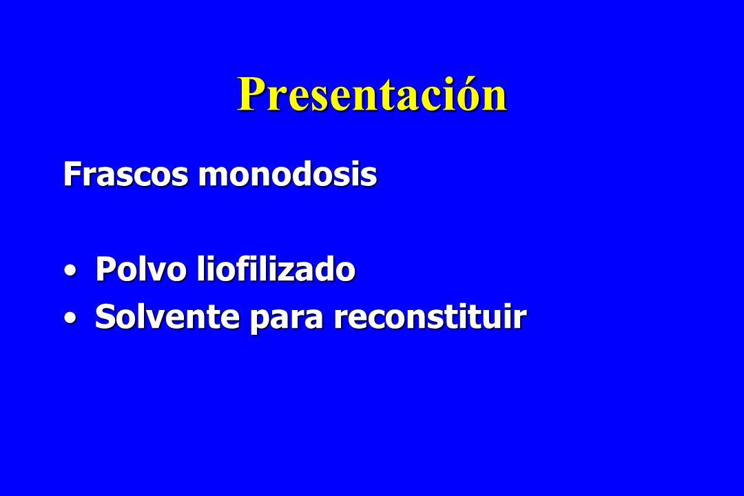 Presentación Frascos monodosis Polvo liofilizadoPolvo liofilizado Solvente para reconstituirSolvente para reconstituir