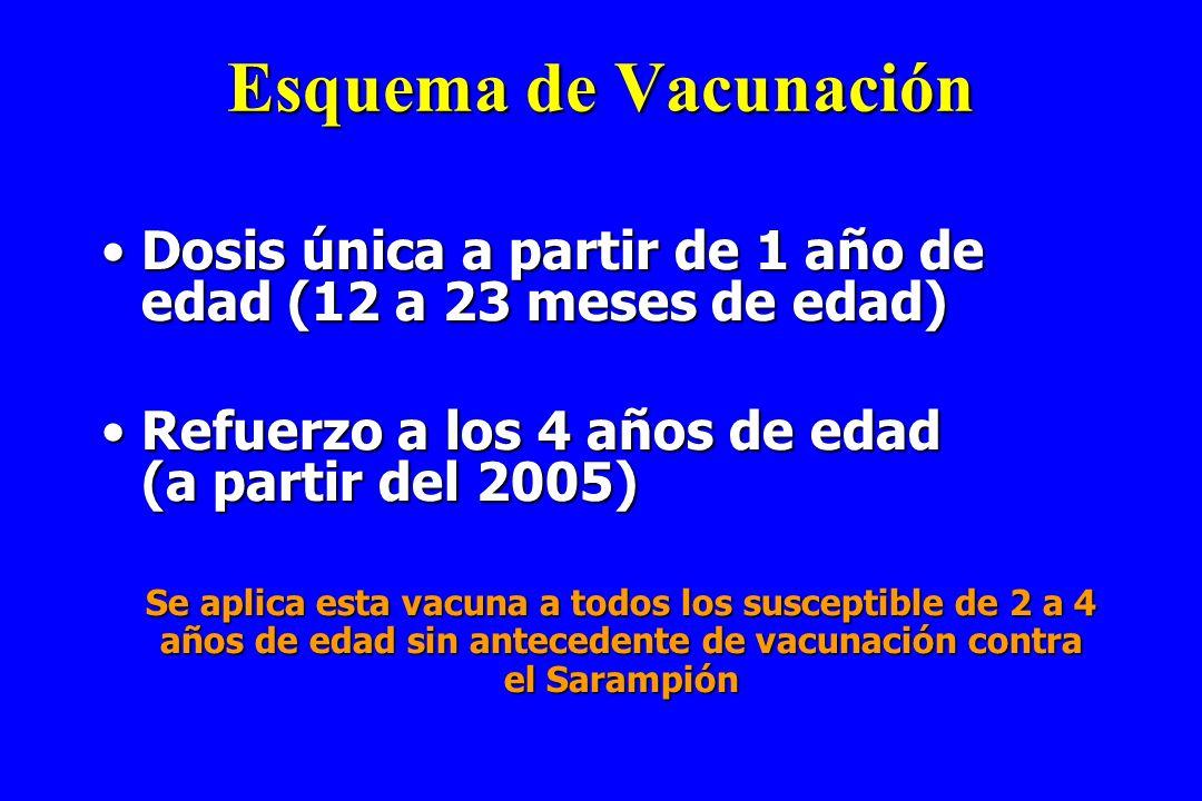 Esquema de Vacunación Dosis única a partir de 1 año de edad (12 a 23 meses de edad)Dosis única a partir de 1 año de edad (12 a 23 meses de edad) Refue