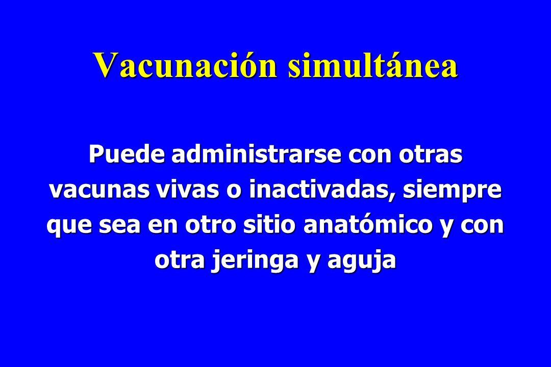 Vacunación simultánea Puede administrarse con otras vacunas vivas o inactivadas, siempre que sea en otro sitio anatómico y con otra jeringa y aguja