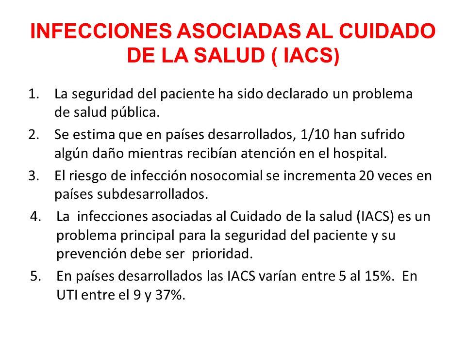 INFECCIONES ASOCIADAS AL CUIDADO DE LA SALUD ( IACS ) 1.La seguridad del paciente ha sido declarado un problema de salud pública. 2.Se estima que en p