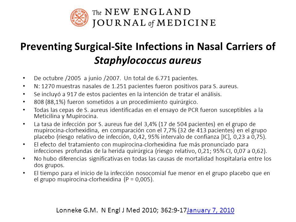 Preventing Surgical-Site Infections in Nasal Carriers of Staphylococcus aureus De octubre /2005 a junio /2007. Un total de 6.771 pacientes. N: 1270 mu