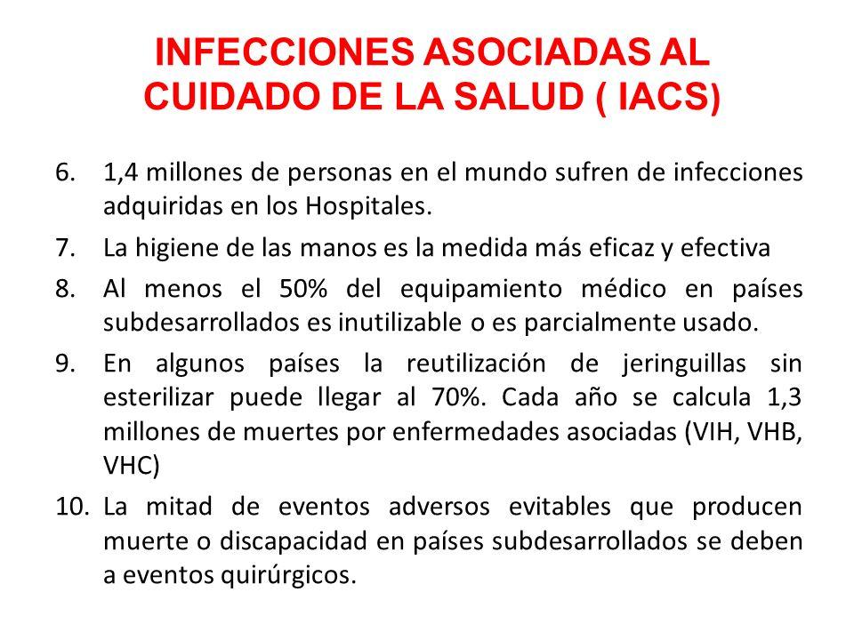 6.1,4 millones de personas en el mundo sufren de infecciones adquiridas en los Hospitales. 7.La higiene de las manos es la medida más eficaz y efectiv