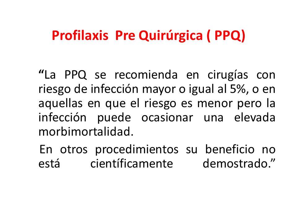 Profilaxis Pre Quirúrgica ( PPQ) La PPQ se recomienda en cirugías con riesgo de infección mayor o igual al 5%, o en aquellas en que el riesgo es menor
