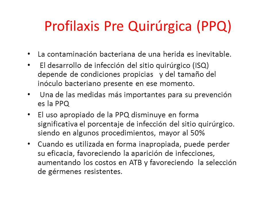 Profilaxis Pre Quirúrgica (PPQ) La contaminación bacteriana de una herida es inevitable. El desarrollo de infección del sitio quirúrgico (ISQ) depende