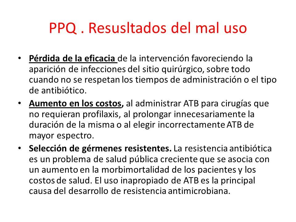 PPQ. Resusltados del mal uso Pérdida de la eficacia de la intervención favoreciendo la aparición de infecciones del sitio quirúrgico, sobre todo cuand